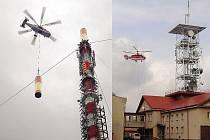 Vrtulník Kamov mění anténu na vysílači v Krásném.