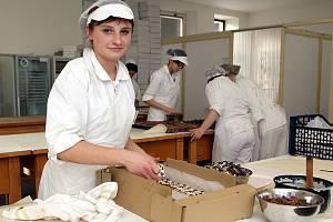 Studentky 3. ročníku Střední odborné školy a středního odborného učiliště obchodu a služeb v Chrudimi, obor cukrář, dokončily dort s názvem Žížala Julie