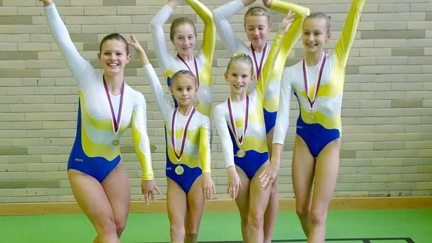 Chrudimské gymnastky na přeboru družstev Pardubického a Královéhradeckého kraje ve sportovní gymnastice žen v Hradci Králové.