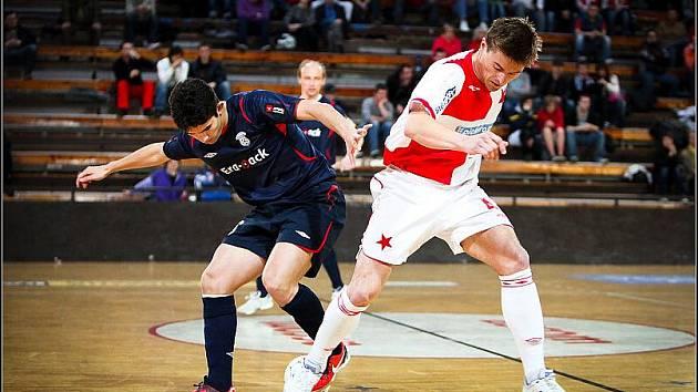 Z druhého utkání čtvrtfinálové série play off Jetbull futsal ligy: Slavia Praha - Era-Pack Chrudim 0:7.