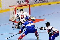 Tomáš Langr (v modrém) vstřelil ve finálovém zápase proti Slovensku dvě branky.