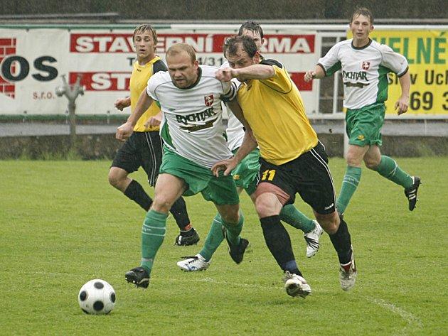 Z utkání krajského přeboru ve fotbale Hlinsko - Svitavy 0:1.