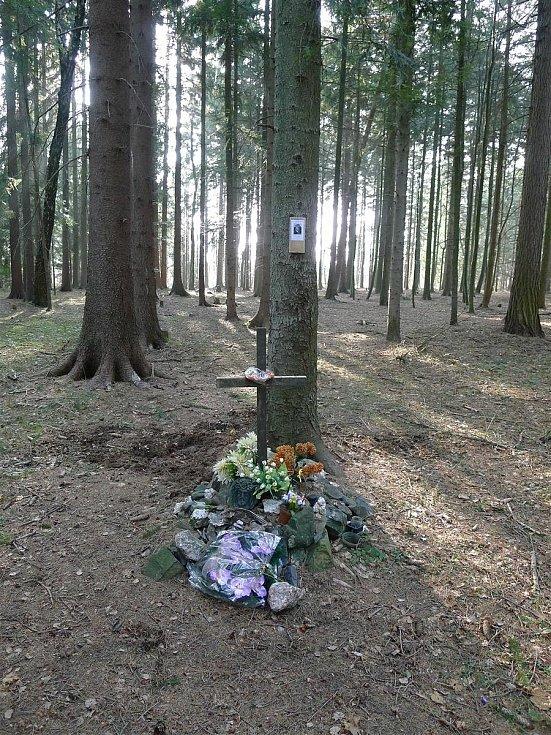 Skromný kříž připomíná mladé životy zmařené při letecké katastrofě.