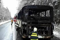 Požár autobusu u Nové Vsi na Chrudimsku. Čtyřicet dětí se z něj naštěstí dostalo včas.