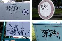 Charakteristické nevzhledné klikyháky se teď v Chrasti objevují na stadionu a v jeho blízkém okolí.