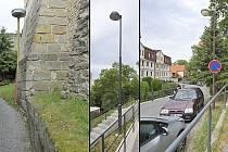 Na několika desítkách metrů chodníku pod chrudimskými hradbami lze najít hned tři typy svítidel.