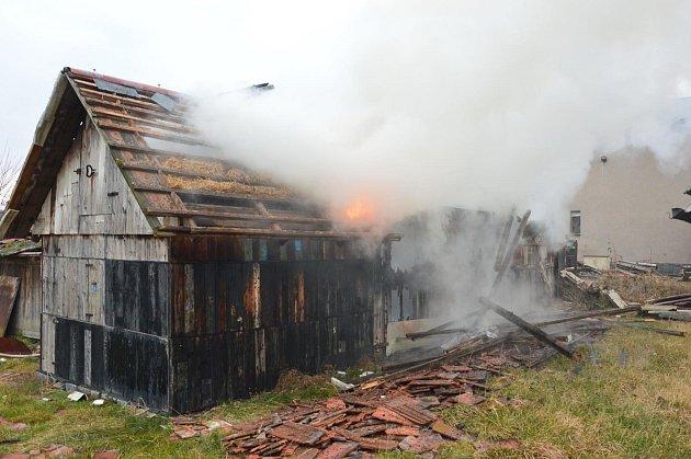 Hořící bouda ve Vestci