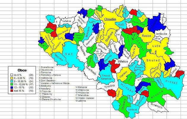 STATISTIKY NEZAMĚSTNANOSTI: Mapka nezaměstnanosti na Chrudimsku k30. září 2010.