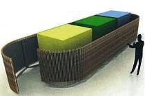 Návrh jednoho ze studentů architektury. Zastínění využívá přírodně vyhlížející materiál.