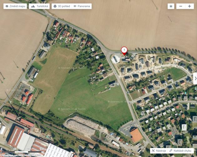 Letecký pohled na lokalitu (pro orientaci - bod 1je benzinová pumpa)