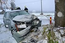 Automobil narazil v Proseči - Pasekách do stromu. Dvě osoby ve voze byly při nehodě zraněny.