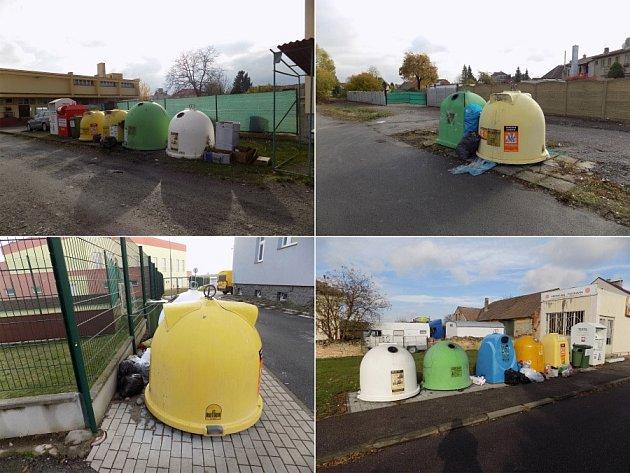 Nepořádek u chrasteckých kontejnerů na odpad