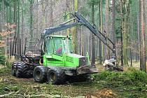 Harvestor v chrudimských městských lesích.