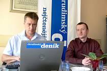 Tomáš Vondráček a Roman Mikan při on-line rozhovoru.