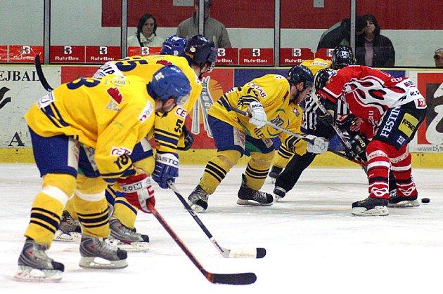 Z druhého finálového utkání play off II. hokejové ligy Chrudim - Milevsko.