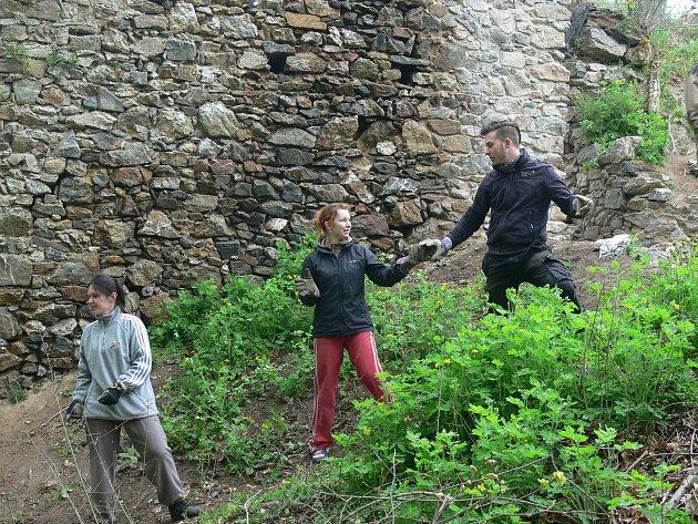 Na zřícenině hradu Rabštejnek pracovalo téměř 60 dobrovolníků