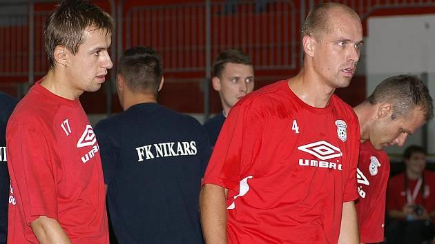 Futsalisté Era-Packu. Zprava Marek Kopecký, Radovan Kroulík a Lukáš Rešetár.