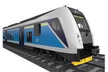 Modrní pantografy ze Studénky, které budou od roku 2012 jezdit na trati mezi Jaroměří, Hradcem Králové a Pardubicemi.