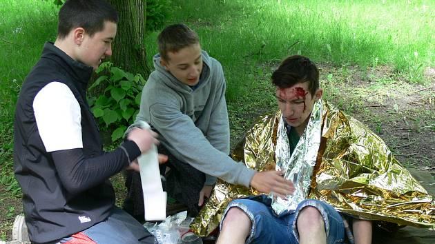 Soutěž mladých zdravotníků pořádal v Městském parku v Chrudimi Oblastní spolek Českého červeného kříže Chrudim.