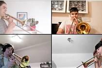 Trombonisté hrají spolu, i když každý zvlášť