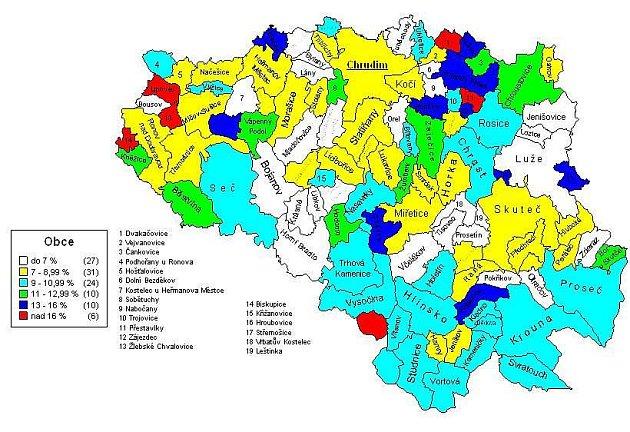 Nezaměstnanost vjednoltivých obcích na Chrudimsku.