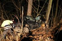 Zraněný řidič zůstal zaklíněný ve vozidle.