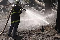 Hasiči likvidují požár lesního porostu u Čertoviny na Hlinecku.