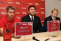 Tisková konference chrudimských hokejistů.