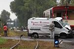 Z místa tragické dopravní nehody na železničním přejezdu ve Slatiňanech.