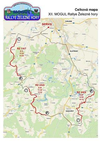 Trasa 12.ročníku Rallye Železné hory.