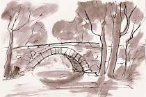 Kamenný mostek překlenuje řeku už staletí.