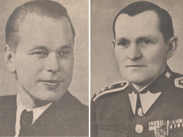 Kapitán Eduard Soška (1913 - 1944) - vlevo na snímku - a generál Josef Svatoň (1896 - 1944) padli v Pasekách u Proseče.