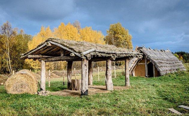 Dokončené budovy v keltském archeoparku