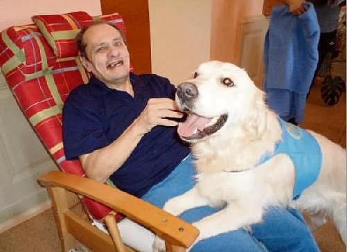 Pes Joey pomáhá klientům.