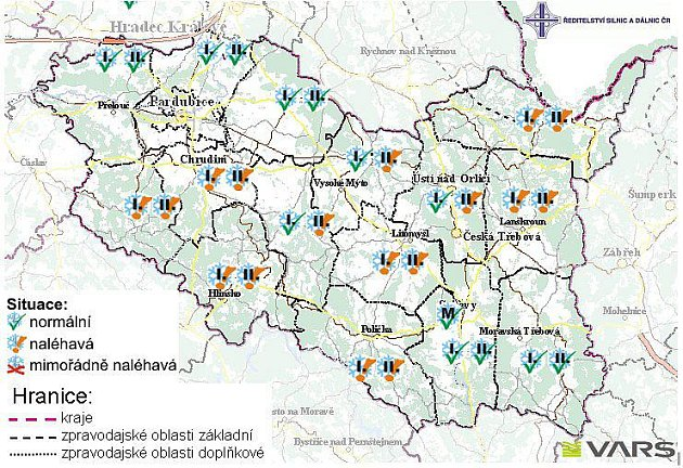 Sjízdnost silnic vPardubickém kraji vpátek 26.listopadu.