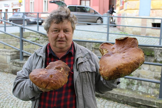 Houbař Ivan Palatáš s rekordním úlovkem.
