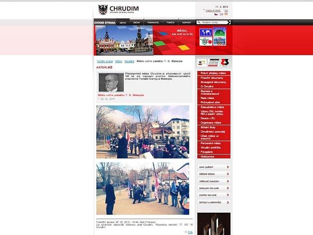 Opozičnímu chrudimskému zastupiteli Františku Pilnému (ANO 2011) se nelíbí prezentace uctění památky výročí narození prezidenta Tomáše Garrigue Masaryka na oficiálních webových stránkách města.