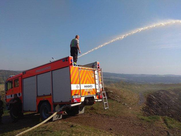 Z hasičského zásahu na hradě Lichnice