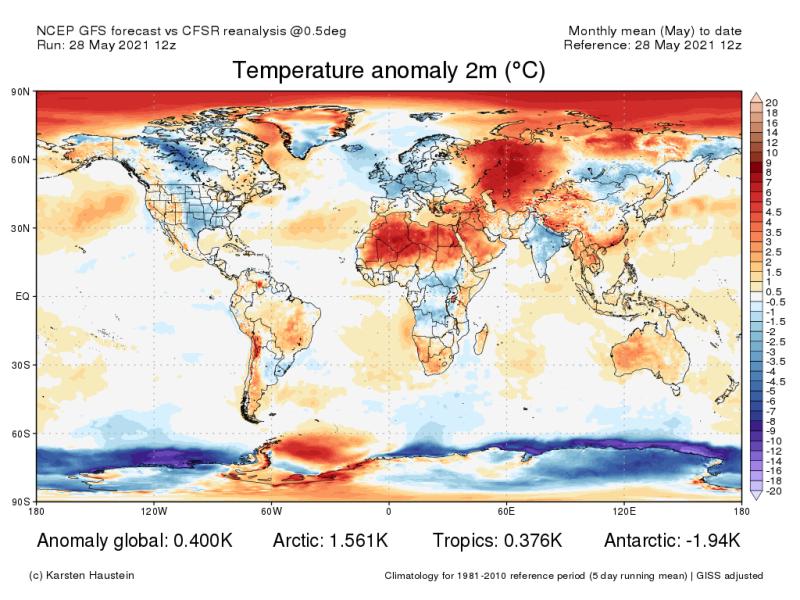Odchylka teploty pro květen (oproti normálu 1981 až 2020)