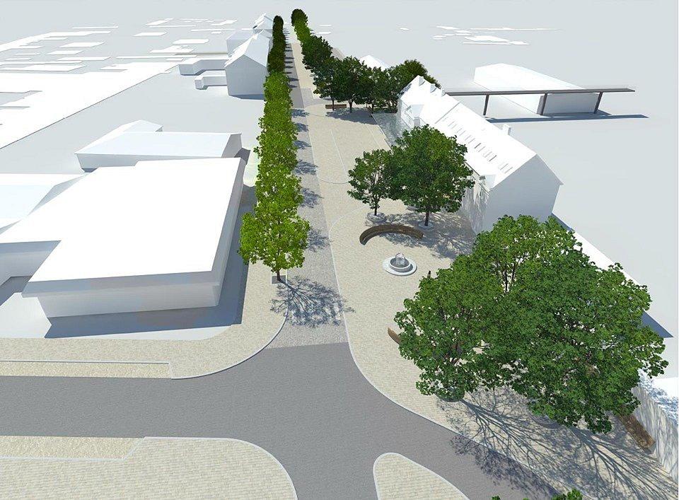Vizualizace modernizovaného prostoru před železničním nádražím. Autobusového nádraží se rekonstrukce netýká.