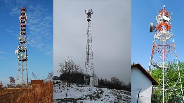 Stožáry vysílačů poblíž podhořanského trojmezí.