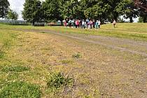 Běžecká dráha na stadionu v Chrasti zarůstá plevelem.