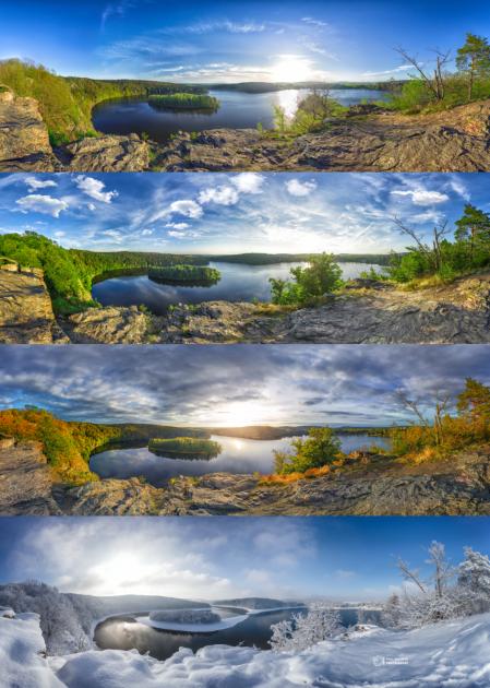 VÝSLEDNÁ KOLÁŽ. Čtyři roční období na známé vyhlídce Sečské přehrady byly fotografovány za velmi specifických podmínek - hodinu před západem slunce stypickým zabarvením a typickou oblačností pro dané období. Proto projekt trval tři roky.