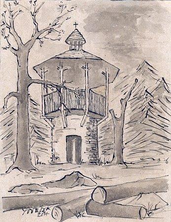 Perokresba věže požární hlásky na kopci Chlum vlesích slatiňanské Podhůry od Josefa Svobody ze Slatiňan