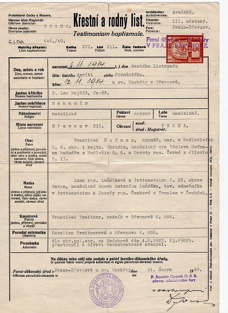 Rodný list Petra Hofmana