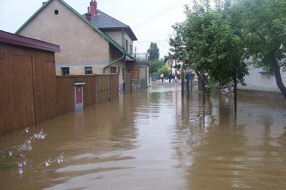 Záplavy: Situace v Zaječicích v neděli 18. července.