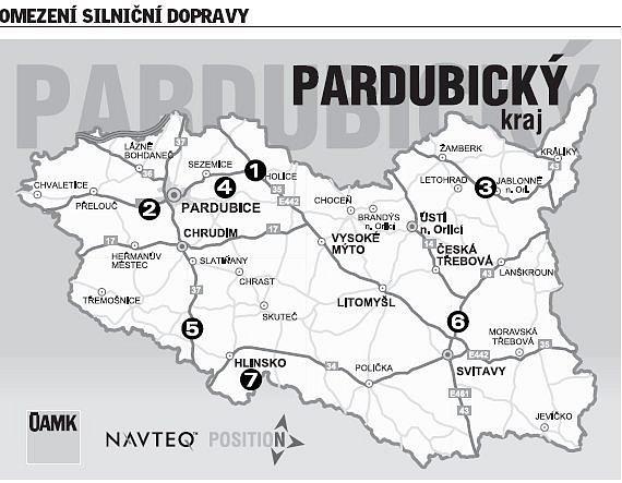 INFOGRAFIKA: Aktuální omezení dopravy vPardubickém kraji.