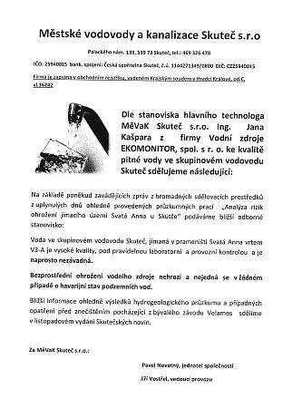 Prohlášení VaK Skuteč.