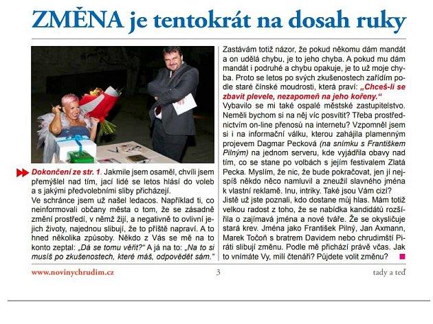 Dagmar Pecková se zlobí. Kvůli fotografii v novinách hnutí ANO 2011.