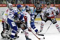 Z hokejového utkání I. ligy HC Chrudim - Kometa Brno 5:4 po SN.